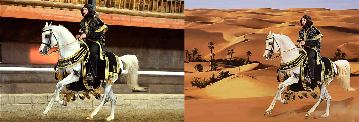 "They said ""Can you put him in a desert?"" So, into the desert he went, big white horse & all!"