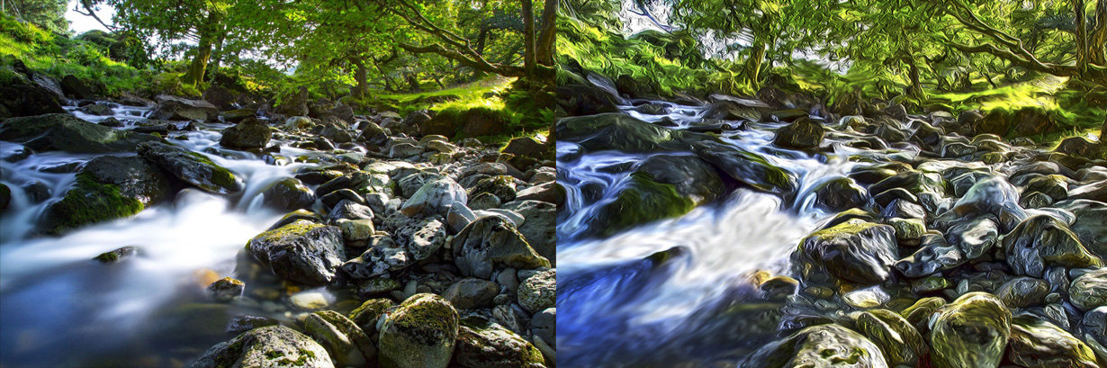 SueDewar_photos_into_paintings_rushing_stream